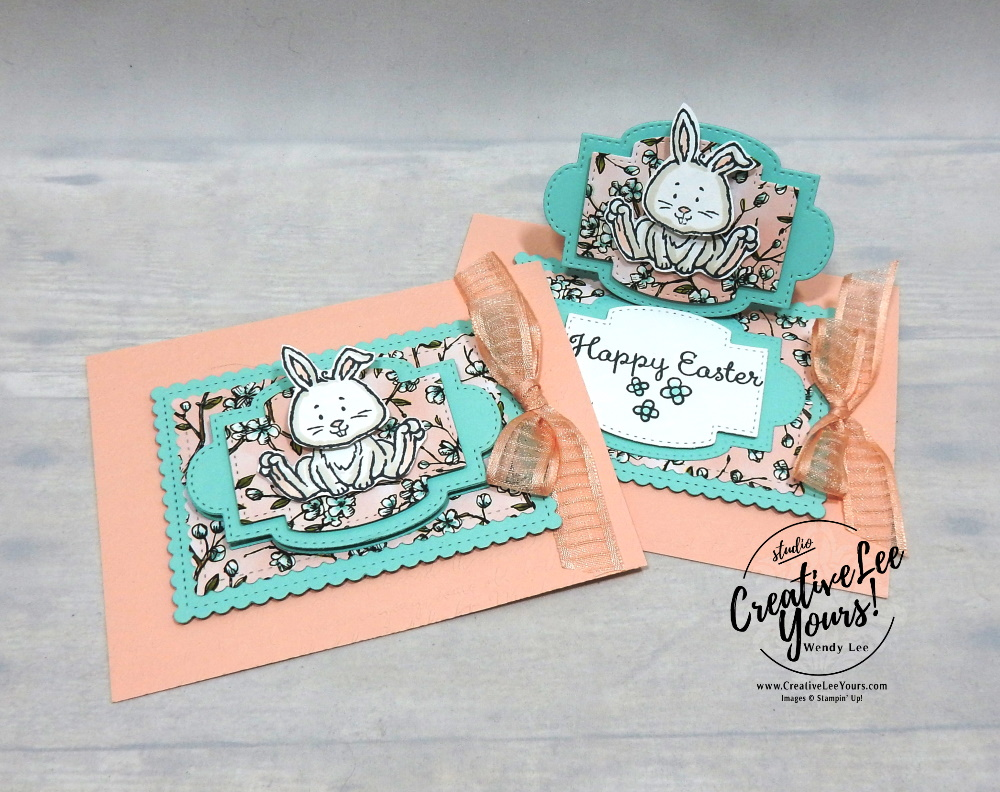 Easter Bunny Wobble Easel by Wendy Lee, wobble, easel, fun fold, stampin Up, SU, #creativeleeyours, handmade card, welcome easter stamp set, friend, celebration, stamping, creatively yours, creative-lee yours, DIY, birthday, papercrafts, pattern paper, lamb, chick, bunny, stitched so sweetly, diemonds team swap, business opportunity