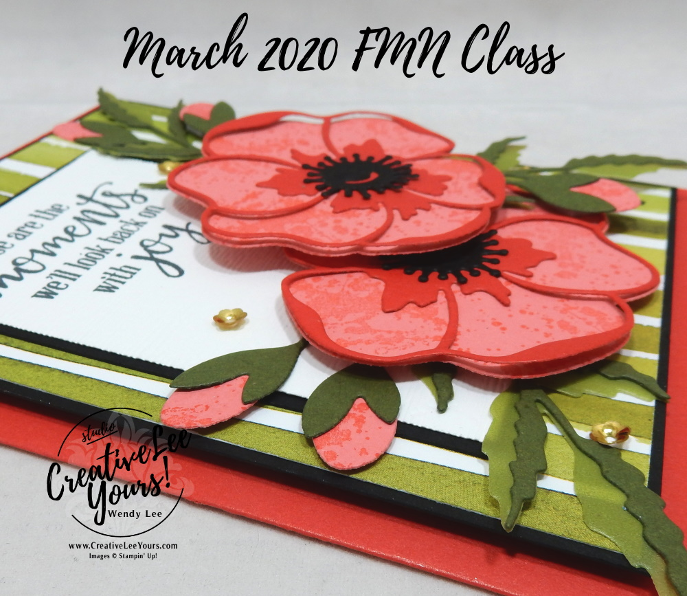 Joyful Birthday Moments by Wendy Lee, Tutorial, stampin Up, SU, #creativeleeyours, handmade card, Painted Poppies stamp set, Peaceful Moments stamp set, Poppy Moments dies, friend, celebration, stamping, creatively yours, creative-lee yours, DIY, birthday, wedding, anniversary, card club, card class, papercrafts, collage card, FMN, Forget me not, flowers,