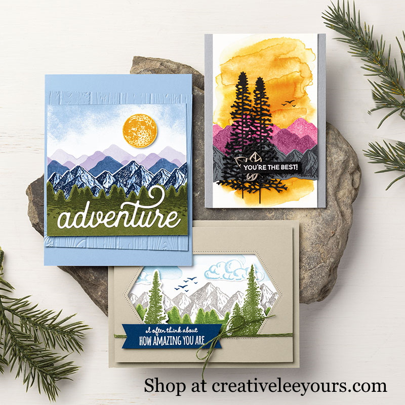 Mountain Air Bundle, Wendy Lee, stampin up, handmade cards, rubber stamps, stamping, #creativeleeyours, creatively yours, creative-lee yours, reversable, celebration, smile, thank you, birthday, congrats, amazing, love, alternate, video, DIY, outdoor, mountain, masculine, trees, Reversibles, landscape
