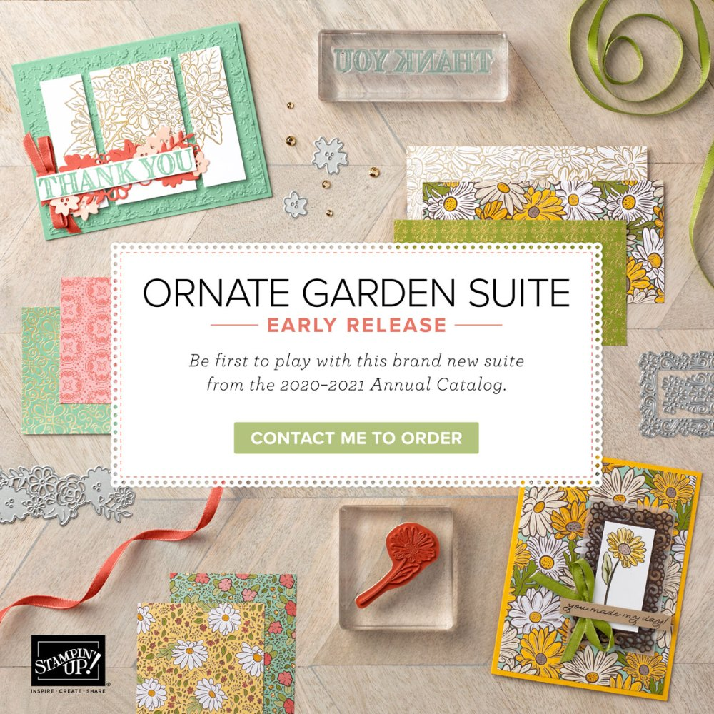 Ornate Garden Suite Early Release, wendy lee, stampin up, stamping, SU, #creativeleeyours, creatively yours, creative-lee yours, sneak peek, new catalog, new stamping products, promotion, Tutorial, handmade card, friend, celebration, thank you, thinking of you, stamping, DIY, birthday, embossing, papercrafts, fun fold, #makeacardsendacard ,#makeacardchangealife, ornate thanks, ornate style, ornate floral, pattern paper