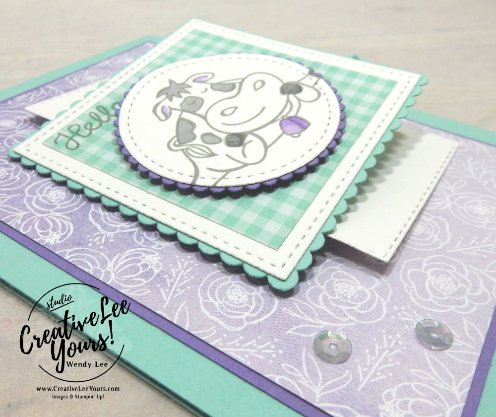 Cow's It Going Flip Flap by Wendy Lee, Maui achievers hop, blog hop, Over the moon, varied vases, DSP, pattern paper, cow, stampin Up, SU, #creativeleeyours, handmade, friend, celebration, congratulation, thank you, stamping, creatively yours, creative-lee yours, DIY, paper crafts, tutorial, card club, incentive trip, rewards, business opportunity, flip flap, fun fold