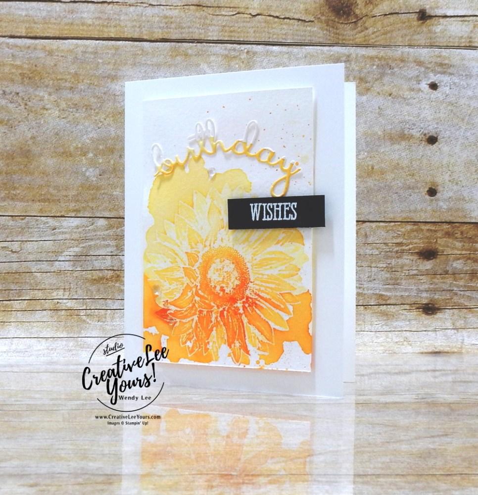 Watercolor Birthday Wishes by Wendy Lee, stampin Up, SU, #creativeleeyours, handmade card, Celebrate sunflower stamp set, hugs, friend, celebration, flowers, watercolor, #cardmaking, #handmadecard ,#rubberstamps, stamping, creatively yours, creative-lee yours, DIY, card class, tutorial, paper crafts, newsletter, card class, well written dies, #papercrafting , #makeacardsendacard ,#makeacardchangealife , #diemondsteam , heat embossing, tutorial