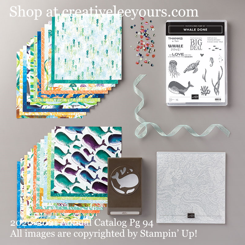 Whale Of A Time Suite - Stampin' Up! Video with wendy lee, Stampin Up, #creativeleeyours, creatively yours, #stampinupdemonstrator ,#cardmaking #handmadecard #rubberstamps #stamping, SU, SUO, creative-lee yours, #DIY, #papercrafts , #papercraft , #papercrafting , fellowship, video, friend, birthday, celebration, whale done  stamp set,#makeacardsendacard ,#makeacardchangealife, #papercraftingsupplies, #papercraftingisfun, #simplestamping, whale, ocean,turtle, sea animals