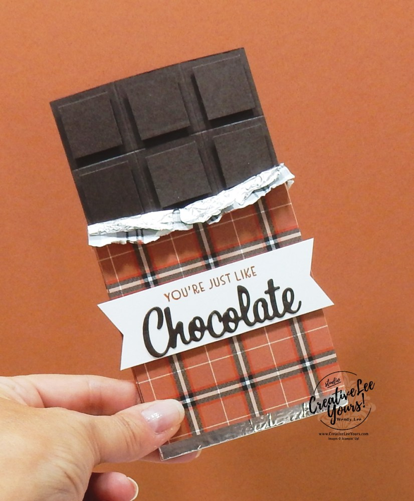Chocolate Bar Gift Card Holder by wendy lee, stampin up, stamping, SU, #creativeleeyours, creatively yours, creative-lee yours, #cardmaking #handmadecard #rubberstamps #stamping, friend, celebration, thanks, congratulations, thank you, hello, birthday, chocolate, coffee, cookies, cocktails, stamping, DIY, paper crafts, #papercrafting , #papercraftingsupplies, #papercraftingisfun , Facebook live, nothings better than stamp set, love you more than dies, #makeacardsendacard ,#makeacardchangealife, ,#tutorial ,#tutorials, plaid, gift card holder