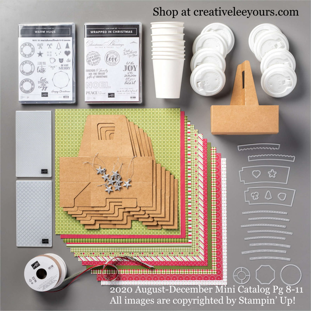 Heartwarming Hugs suite, Stampin' Up! Video with wendy lee, Wrapped in Christmas stamp set, warm hugs tamp set, Stampin Up, #creativeleeyours, creatively yours, #stampinupdemonstrator ,#cardmaking #handmadecard #rubberstamps #stamping, SU, SUO, creative-lee yours, #DIY, #papercrafts , #papercraft , #papercrafting , fellowship, video, friend, birthday, celebration, cocoa, mini coffee cups, hello, thank you, sympathy, Christmas, holidays, #makeacardsendacard ,#makeacardchangealife, #papercraftingsupplies, #papercraftingisfun, packaging