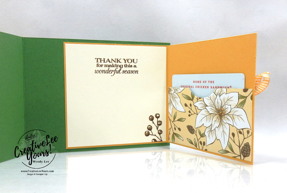 Warm Wishes Gift Card Holder by Wendy Lee, stampin Up, SU, #creativeleeyours, handmade card, Poinsettia Petals stamp set, Christmas, friend, celebration, thank you, stamping, creatively yours, creative-lee yours, DIY, birthday, gift card holder, papercrafts, rubberstamps, #stampinupdemonstrator , #papercrafts , #papercraft , #papercrafting , #papercraftingsupplies, #papercraftingisfun, facebook live, video , beautiful boughs dies, poinsettia dies