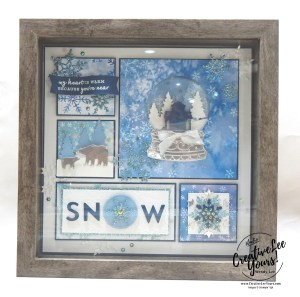 Frosted Winter home decor by wendy lee, stampin up, stamping, SU, #creativeleeyours, creatively yours, creative-lee yours, ,#tutorial ,#tutorials ,#rubberstamps #stamping, friend, celebration, framed art, sampler, holiday, snowflakes, snow globe, winter, thank you, hello, birthday, snow, stamping, DIY, paper crafts, #papercrafting , #papercraftingsupplies, #papercraftingisfun , snowflake wishes stamp set, 3D, framed art