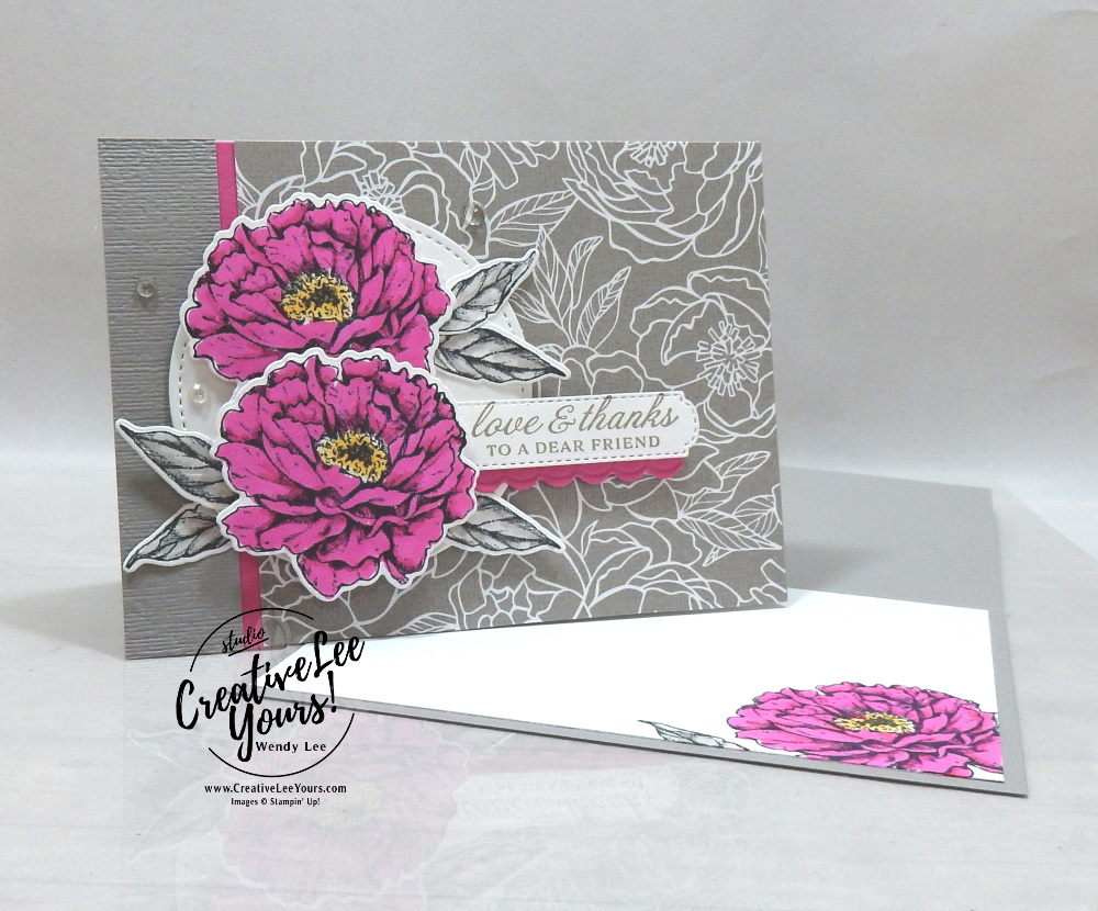 Love & Thanks Peony-Maui Achievers Blog Hop by wendy lee, stampin up, stamping, SU, #creativeleeyours, creatively yours, creative-lee yours, #cardmaking #handmadecard #rubberstamps #stamping, friend, celebration, congratulations, thank you, hello, birthday, in color club, stamping, DIY, paper crafts, #papercrafting , #papercraftingsupplies, #papercraftingisfun ,#tutorial ,#tutorials, maui achievers blog hop, Prized Peony stamp set, peony garden, blends, stitched shapes, all dressed up, magenta