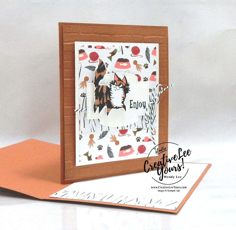 Enjoy by Wendy Lee, tutorial, tutorials, stampin Up, SU, #creativeleeyours, handmade card, friend, celebration , birthday, stamping, creatively yours, creative-lee yours, DIY, papercrafts, rubberstamps, #stampinupdemonstrator , #papercrafts , #papercraft , #papercrafting , #papercraftingsupplies, #papercraftingisfun, Pampered Pets stamp set, paper embossingdog, cat, stitched so sweetly, playful pets