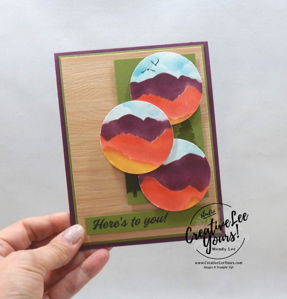 Stenciled Mountains by Wendy Lee, March 2021 Paper Pumpkin Kit, Here's to you, free gift, stencil set, stampin up, handmade cards, rubber stamps, stamping, kit, subscription, #creativeleeyours, creatively yours, creative-lee yours, celebration, smile, thank you, hope, sorry, birthday, thinking of you, love, congrats, lucky, feel better, sympathy, get well, grateful, comfort, encouragement, love, anniversary, wedding, majestic, mountain, landscapes, bonus tutorial, fast & easy, DIY, #simplestamping, card kit, subscription, craft kit, Bonus card, FMN, #simplestamping