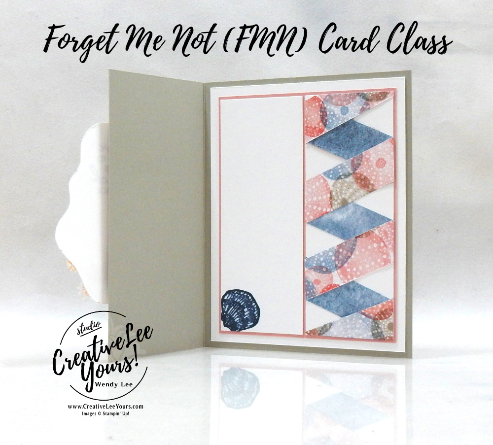 Ribbon Technique by wendy lee, Friends Are Like Seashells stamp set, Seaside Seashells, Layering Diorama, stampin up, stamping, SU, #creativeleeyours, creatively yours, creative-lee yours, #cardmaking, #handmadecard, #rubberstamps #stamping, friend, thinking of you, sympathy, thank you, birthday, love, anniversary, stamping, DIY, paper crafts, #papercrafting , #papercraftingsupplies, #papercraftingisfun , FMN, forget me not, ,#cardclub ,#cardclasses ,#onlinecardclasses , tutorial ,#tutorials ,#funfoldcards ,#funfoldcard ,#makeacardsendacard ,#makeacardchangealife, #technique ,#techniques, sand & Sea, Seashells, Sea life