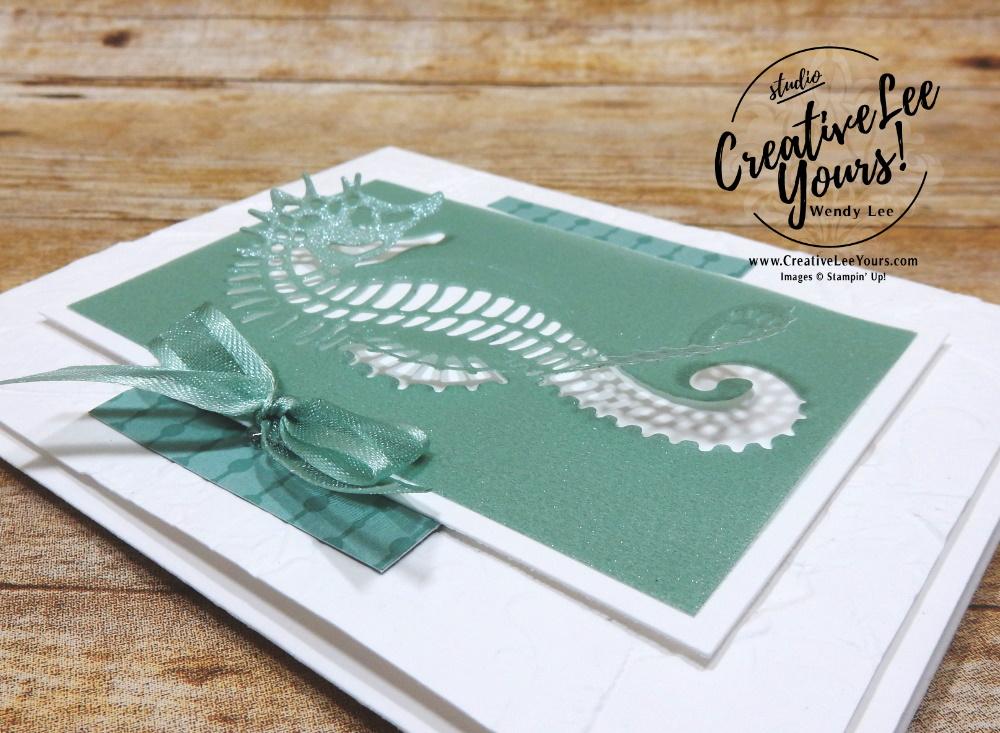 Shimmer Vellum Thank You by Wendy Lee, Seascape Stamp Set, stampin Up, SU, #creativeleeyours, handmade card, friend, celebration, thank you, stamping, creatively yours, creative-lee yours, DIY, birthday, papercrafts, #makeacardsendacard ,#makeacardchangealife , rubberstamps, #stampinupdemonstrator , #cardmaking, #papercrafts , #papercraft , #papercrafting , #papercraftingsupplies, #papercraftingisfun, shimmer Vellum, kylie bertucci, international highlights, blog hop, partial diecut, seahorse, fish