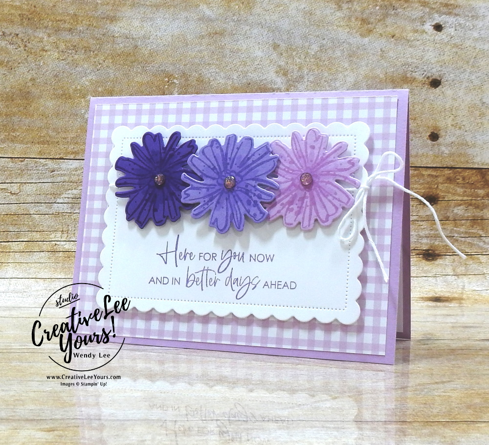 Here For You Flowers by Wendy Lee, #creativeleeyours , #stampinup , #su , #stampinupdemonstrator , #cardmaking, #handmadecard, #rubberstamps, #stamping, #DIY, #papercrafts , #papercraft , #papercrafting , #papercraftingsupplies, #papercraftingisfun, #papercraftingideas, #makeacardsendacard ,#makeacardchangealife , color and contour stamp set, scallop contour, flowers, pansy petals, friend, thinking of you, support, sympathy, coloring with blends, ,#tutorial ,#tutorials ,#technique ,#techniques, Pansy Petals DSP