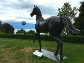 """Bronze statue of """"Jappeloup"""", the French show jumping champion at the Seoul Olympics in 1988."""