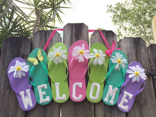 Dollar store flip flop welcome sign creatively beth dollar store flip flop welcome sign publicscrutiny Image collections