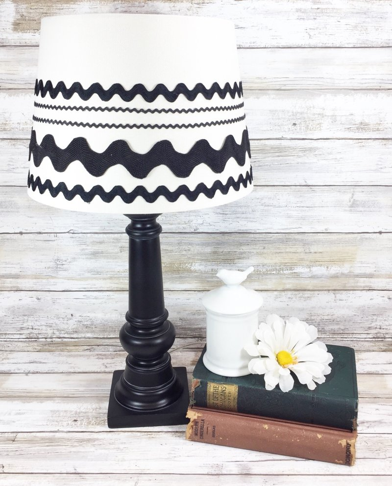 CREATE AN UPCYCLED FARMHOUSE CHIC LAMP WITH RIC-RAC BY CREATIVELY BETH