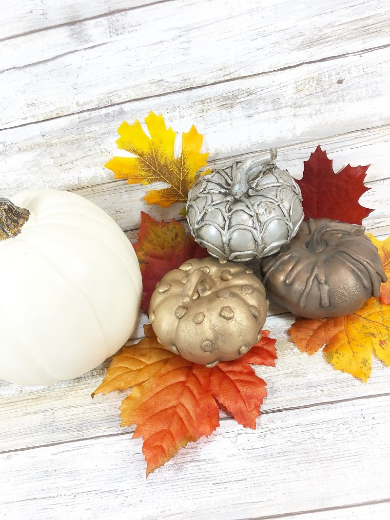 CRAFT LIGHTNING DECORATIVE PUMPKINS MADE WITH HOT GLUE CREATIVELY BETH