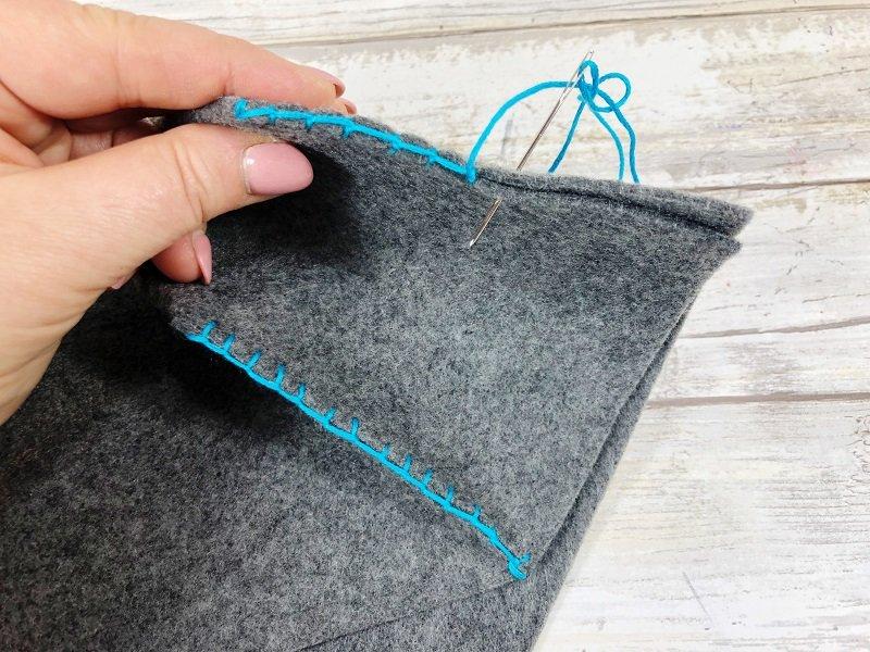 Blanket stitching back to school felt storage baskets