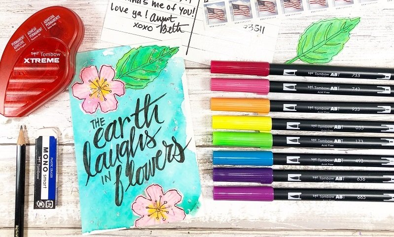 Create Happy Mail Art from 3 Household Items @CreativelyBeth #happymailart #creativelybeth #tombowdualbrushpens
