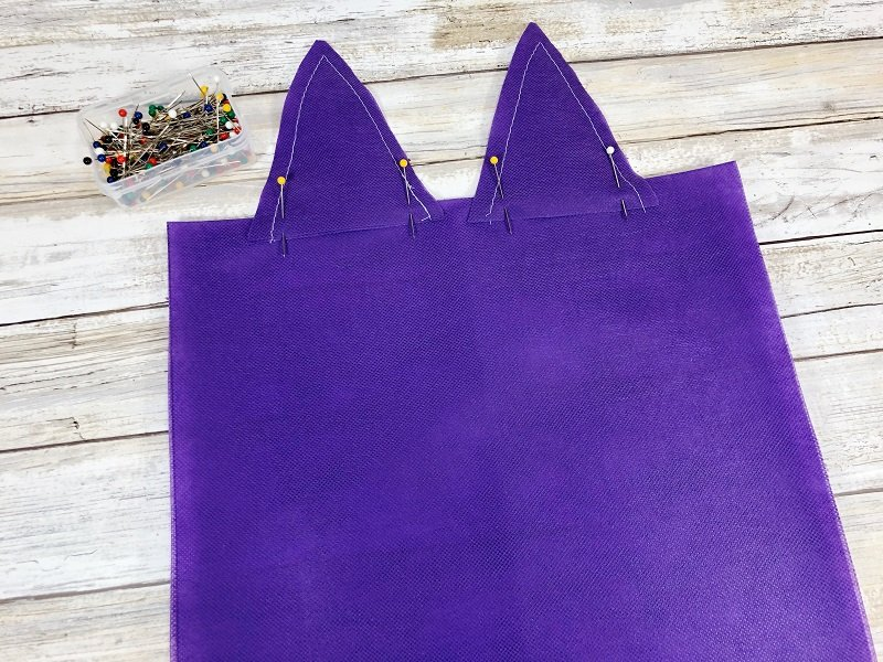 Creatively Beth pin ears to top of bag and sew