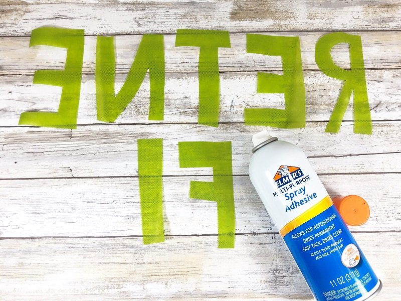 Creatively Beth attach letters with spray adhesive