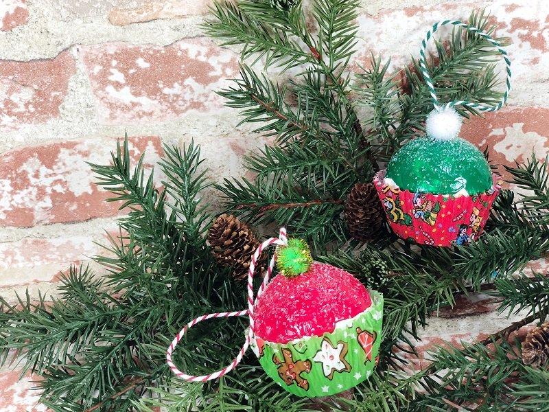 Dollar Tree Christmas Cupcake Ornaments #creativelybeth #dollartreecrafts #christmascrafts #christmascupcake