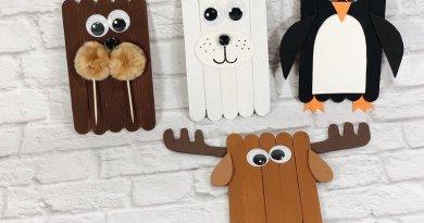 Craft with Kids Craft Stick Arctic Animals Creatively Beth #creativelybeth #craftstickcrafts #dollartreecrafts #kidscrafts