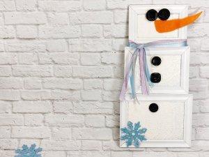 Kids Craft Dollar Tree Picture Frame Snowman Creatively Beth #creativelybeth #dollartreecrafts #snowmancrafts #kidscrafts #wintercrafts
