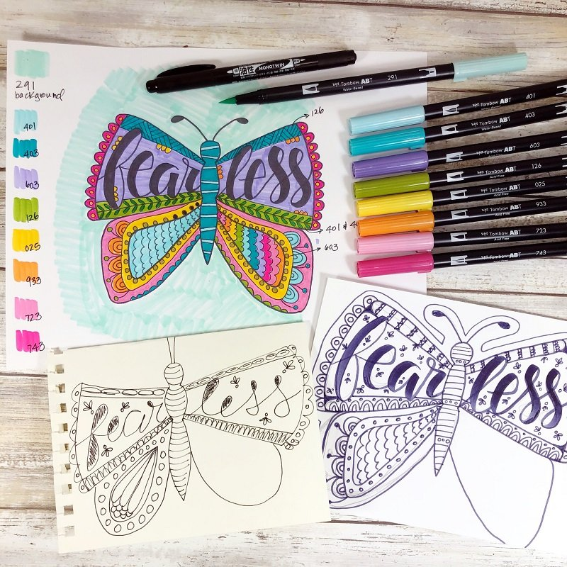 Coloring Process Fearless Butterfly Free Printable from Creatively Beth #freeprintable #butterfly #onelittleword #drawing #doodle #handlettering