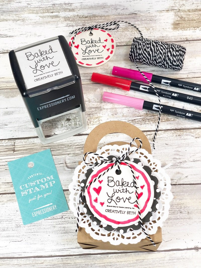 Stamp a tag with Expressionery Creatively Beth #creativelybeth #laurakellydesigns #valentinetreats #hersheykisses #hersheyhugs