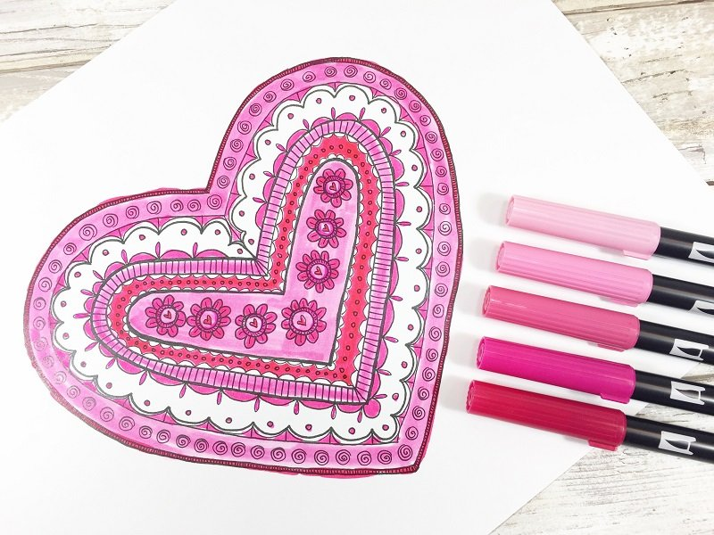Color in the heart image Creatively Beth #free #printable #handlettered #tombowdualbrushpens #heart #drawing