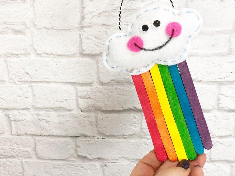 How to Create a Rainbow from Craft Sticks with Creatively Beth #creativelybeth #rainbow #craftweek2020 #craftsticks #kidscraft