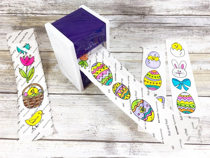 Pull and tear from back and burnish Xyron Creatively Beth #creativelybeth #doodles #freedownload #printable #eastercrafts #xyron