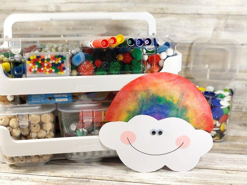 Watercolor Coffee Filter Rainbows Creatively Beth #cretivelybeth #dollartreecrafts #kidscrafts #colorblending #rainbowcrafts