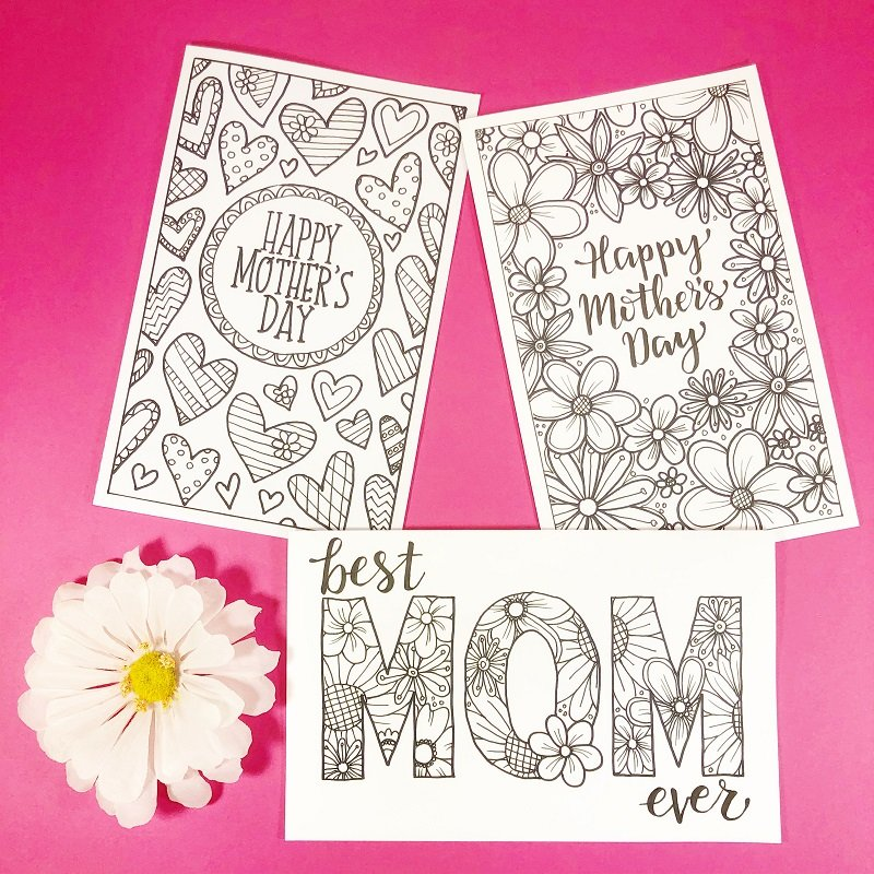 Trio of FREE Mother's Day Cards to Print and Color by Creatively Beth #creativelybeth #freeprintable #freedownload #coloring #mothersday #card #free