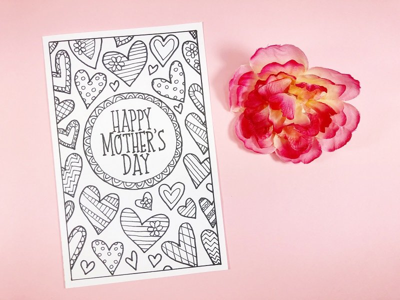 Hand Drawn Mother's Day Cards to print and color Creatively Beth #creativelybeth #freeprintable #freedownload #coloring #mothersday #card #free