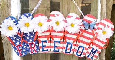Dollar Tree Upcycled Flip Flop Freedom Sign hanging on an old window Creatively Beth #creativelybeth #flipflopsign #freedom #recycle #upcycle #dollartree #craft