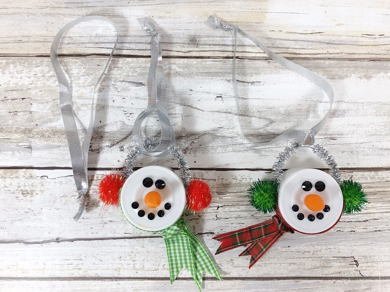 Add a ribbon hanger by looping through the chenille stem Creatively Beth #creativelybeth #dollartreecrafts #christmas #ornaments