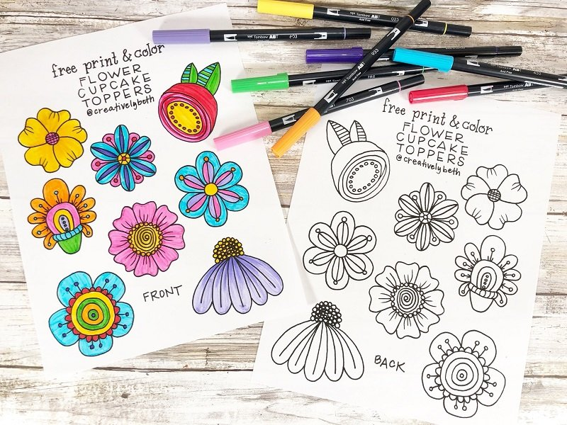FREE print and color Doodle Flower Cupcake Toppers hand drawn by Beth Creatively Beth #creativelybeth #freeprintable #doodle #flowers #cupcaketopper