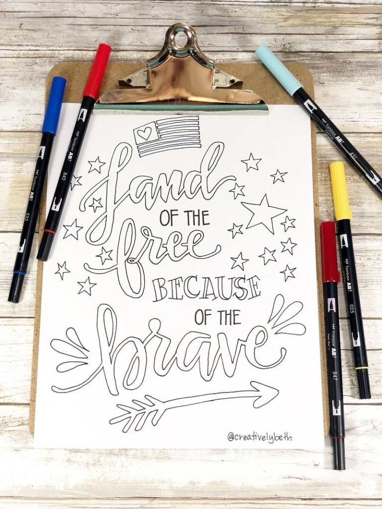 Land of the Free because of the Brave free coloring page Creatively Beth #creativelybeth #free #printable #coloringpage #printandcolor #fourthofjuly #handdrawn