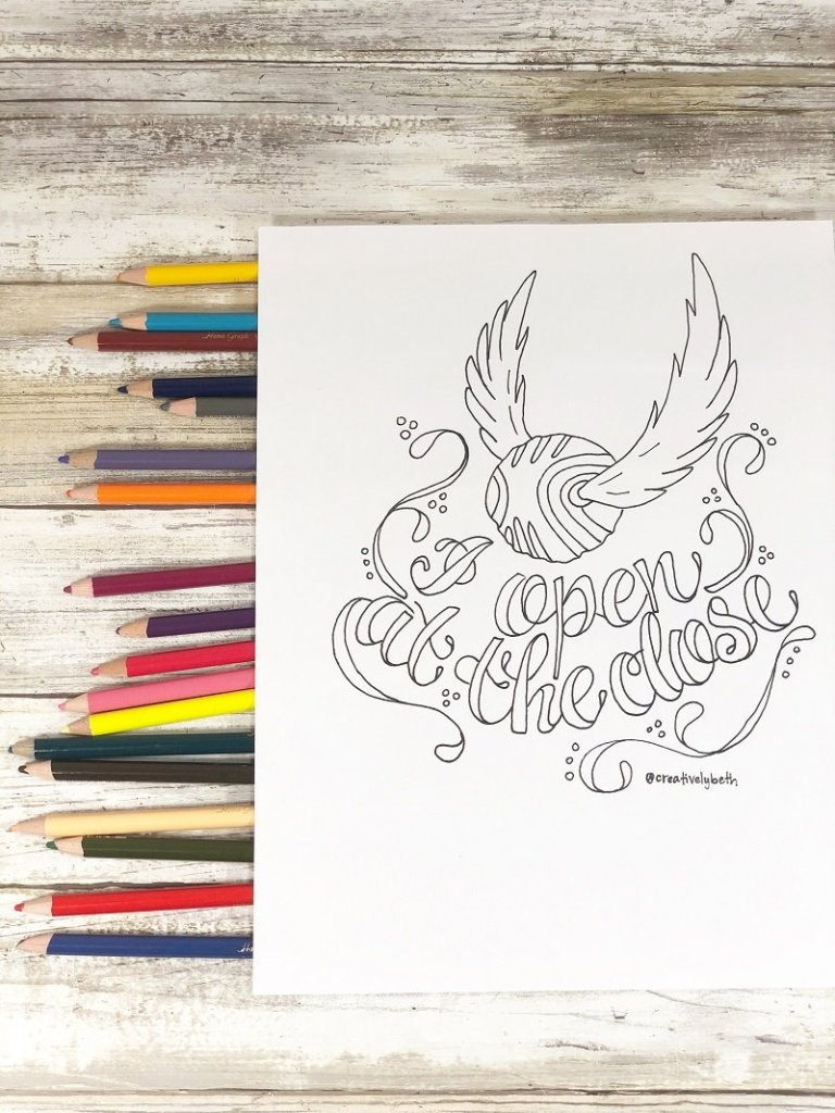 Hand Lettered Harry Potter Printable Quotes to Color Creatively Beth #creativelybeth #printables #harrypotter #handlettered