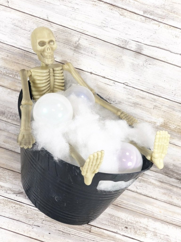 How to DIY Skeleton Bubble Bath with Poly-Fil Creatively Beth #creativelybeth #polyfil #ffw80 #dollartreecrafts #halloweencrafts