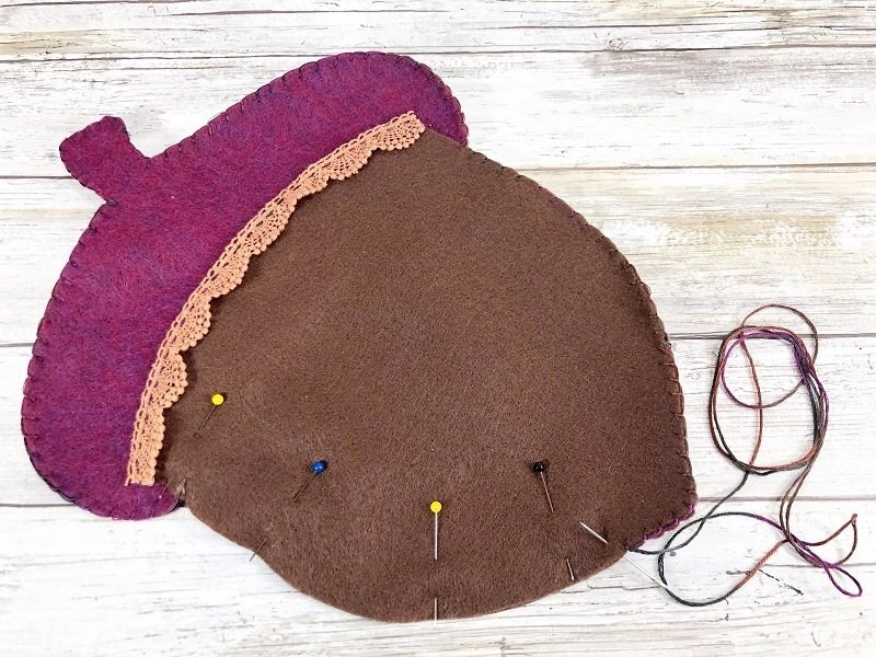 Pin layers together and blanket stitch around the outer edge by Creatively Beth #creativelybeth #polyfil #fairfieldworld #autumnhomedecor #easysewingproject