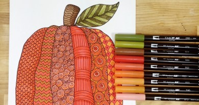 Hand-Drawn Pumpkin Free Printable to Color for Autumn Creatively Beth #creativelybeth #freeprintable #coloringpage #tombowdualbrushpens