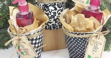 Decoupaged Gift Buckets for Elegant Holiday Giving by Creatively Beth #creativelybeth #tombow #decoupaged #upcycled #giftgiving #giftwrapping
