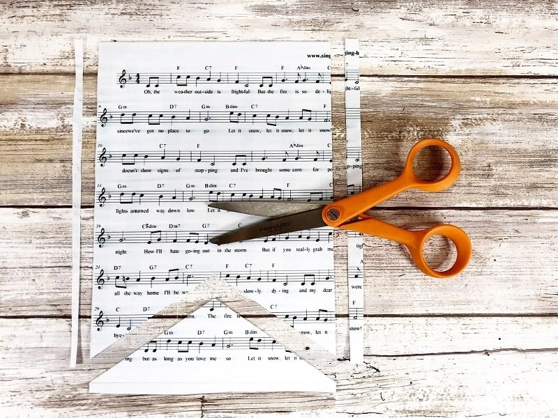 Trim excess music sheet with scissors Creatively Beth #creativelybeth #tombow #handlettered #glitter #banner #adhesives