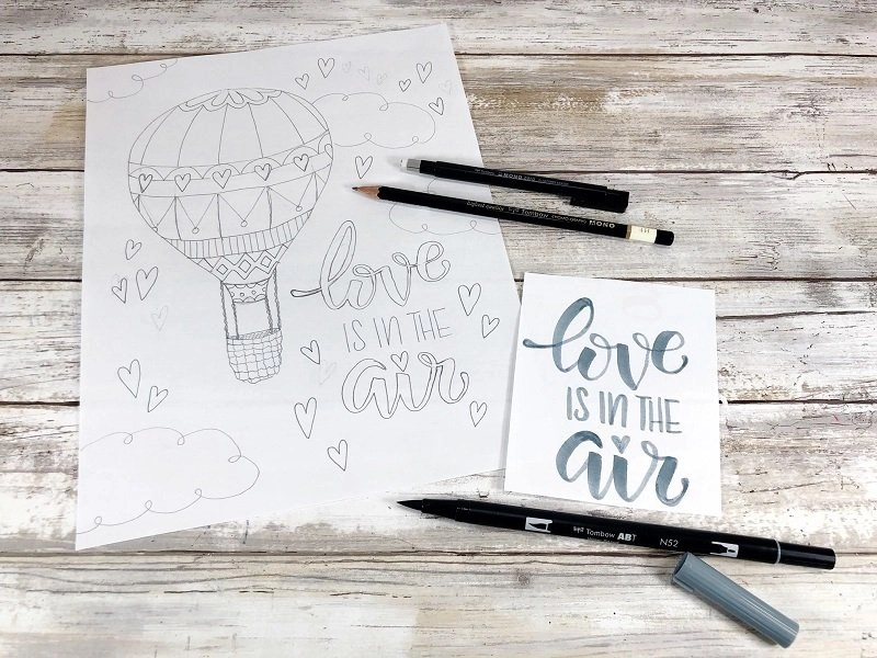 Pencil sketch of Love is in the Air Coloring Page by Creatively Beth #creativelybeth #valentinesday #freeprintable #coloringpage #handdrawn #handlettered