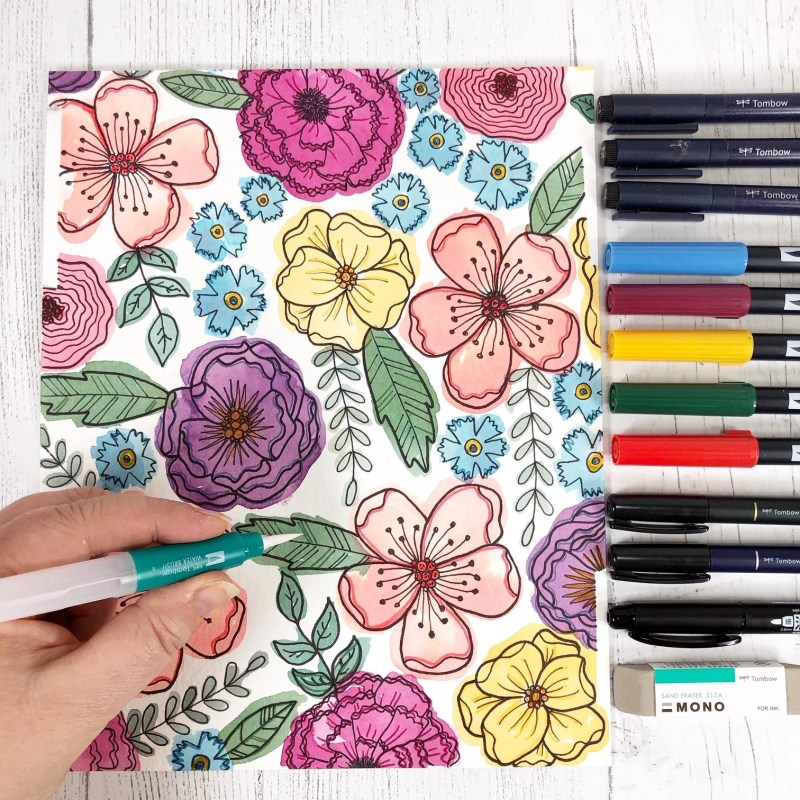 Watercolor Floral and Butterfly Free Printables by Creatively Beth #CreativelyBeth #tombowdualbrushpens #watercolor #freeprintable