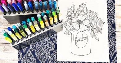 Free Patriotic Floral Printable to Color by Creatively Beth #creativelybeth #teamcreativecrafts #freeprintable #handdrawn #handlettered #patriotic