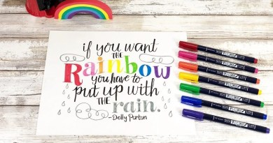 Hand Lettered Rainbow Quote Free Printable Creatively Beth #creativelybeth #rainbow #rainbowquote #dollyparton #handlettered #freeprintable